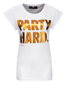Saint Noir Party Hard White Rolled Sleeve Women's T-Shirt