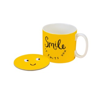The Happy News Smile It Suits You Mug & Coaster Set
