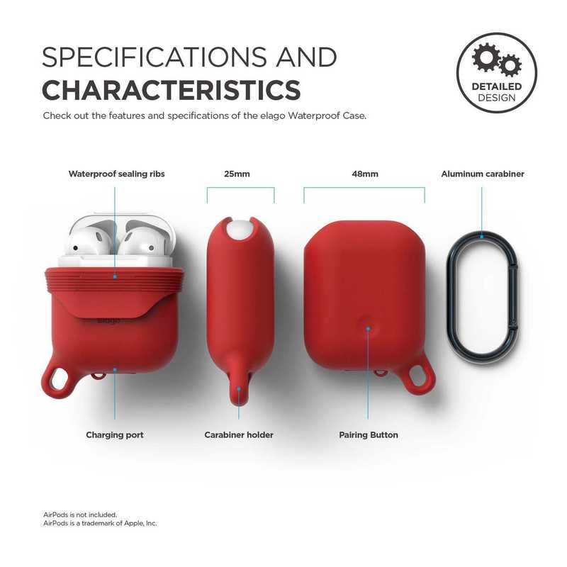 hot sales cf4e0 9a305 Elago Waterproof Hang Case Red for AirPods