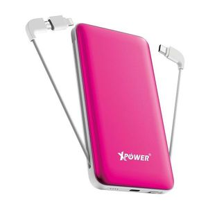 XPower PD10X 10000mAh 3-in-1 Built-In Cable Power Bank  Pink
