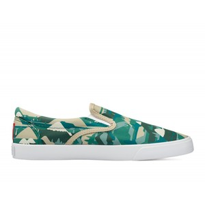 Bucketfeet Feelgood By Numbers Green Low Top Men's Canvas Slip-Ons