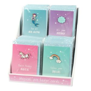 Something Different Unicorn & Mermaid Card with Pin Badge