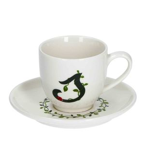 La Procellana Bianca Solotua Coffee Cup with Saucer Letter S 3 oz