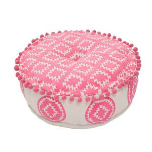 Bombay Duck Aztec Embroidered Candy Pink Pouff