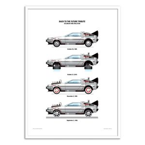 Delorean Dmc-12 Art Poster by Olivier Bourdereau [30 x 40 cm]