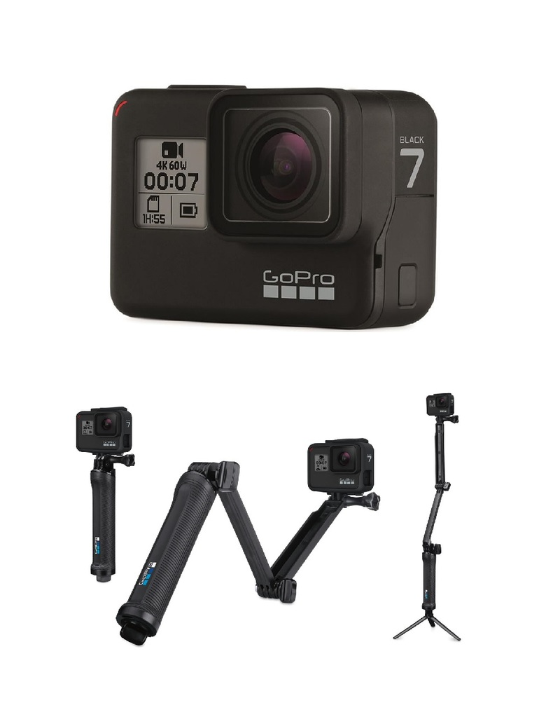 premier coup d'oeil site professionnel grande qualité GoPro HERO7 Action Camera Black + GoPro 3-Way Camera Mount