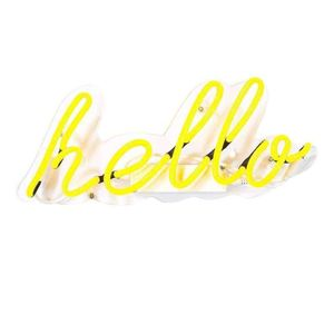 Illuminate It Yellow Hello Neon Light 35cm UK Power Adapter