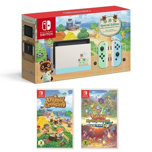 Nintendo Switch Animal Crossing Console + Animal Crossing + Pokemon Mystery Dungeon Rescue Team DX