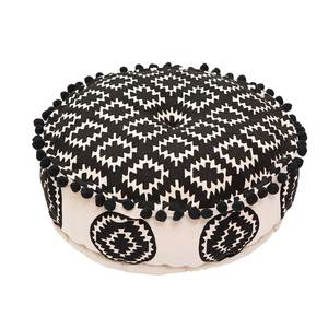 Bombay Duck Aztec Embroidered Black Pouff