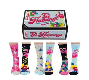 United Oddsocks Go Flamingo Women's Socks [Size 4-8 UK]
