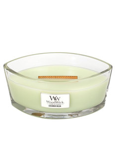 Woodwick Heart Wide Flame Cucumber Melon White Large Candle